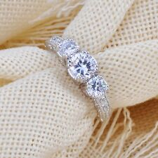 10KT Size 6-9 Jewelry White Gold Filled White Sapphire Wedding Band Ring Ring