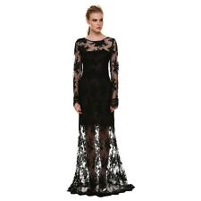Sexy Long Sleeve Lace Backless Maxi Formal Party Gown Long Evening Dress -Black