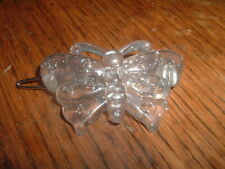 VINTAGE CLEAR WHITE LUCITE BUTTERFLY HAIR BARRETTE IN GIFT BOX