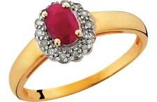 9ct Gold Created Ruby and Diamond Cluster Ring