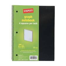 "Staples Graph Ruled 4 x 4 Spiral Notebook, Assorted Colors, 8"" x 10-1/2"", EA"