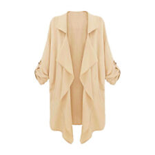 Woman Roll Up Sleeves Round Hem Draped Front Trench Jacket