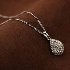 Gold For Shiny Teardrop Necklace Women Jewelry Crystal Pendant Plated Silver