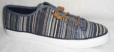 NEW SPERRY TOP SIDER SEACOAST NAVY MULTI STRIPE CANVAS SNEAKERS BOAT SHOES 12 M