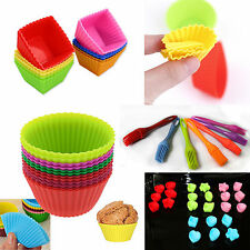 Silicone Cup Cake Muffin Cupcake Cases Baking Brush Multi Coloured & Shapes item