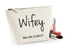 Personalised Bride To Be, Wifey Makeup & Wash Bag, Honeymoon, Wedding Day Gift