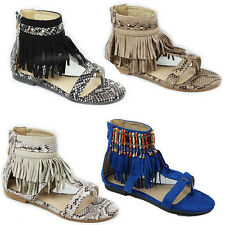 WOMENS LADIES SUMMER STRAPPY FLAT TASSLE LOW ANKLE SANDALS SHOES SIZE 3-8