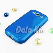 Gel Rubber TPU Blue Skin Case For Samsung Galaxy S3 Neo+ I9301I I9300I T999 L710