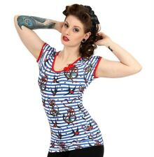 Liquorbrand Anchor Birds Bow Top Nautical Tattoo Rockabilly Tee Shirt Retro