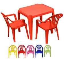 PLASTIC KIDS CHILDRENS TABLE AND CHAIRS SET GARDEN INSIDE FOR BOYS OR GIRLS