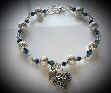 Silver Bracelet with Blue Beads and Beautiful Heart Shape Charms