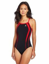 TYR SPORT WOMENS ALLIANCE SPL D-BCK-A SWIMSUIT DPSP7A SIZE 28 BLACK AND RED