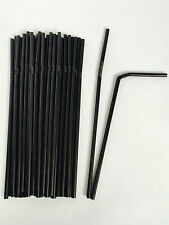 50 - 250 Black Bendy Flexible Plastic Cocktail Party Drinking Straws Top Quality