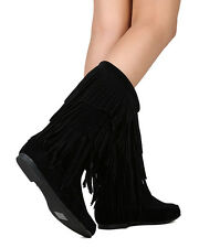 New Refresh Jolin-08 Women Faux Suede Mid Calf Cascading Fringe Moccasin Boot