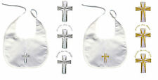 Baby Boy Girl Infant Christening Baptism White BIB Gold Silver Embroidered Cross