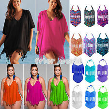 Womens Plus Size Padded Tassel High Waist Push Up Bikini Beach Swimwear Swimsuit
