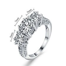 10KT Size 6-9 Jewelry White Sapphire Wedding Band Ring White Gold Filled Ring