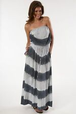 100% Silk Coachella Gypsy 05 Tie Dye Strapless Maxi Dress Made in Hollywood, CA