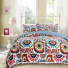 DaDa Bedding Bohemian Colorful Floral Reversible Quilted Coverlet Bedspread Set