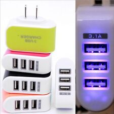 Wall Home Travel 3-Port USB Charger Adapter AC LED Power Light