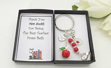 Thank You Teacher Red Apple Keyring.Gift Box.End Of Term.School Leavers. Gift