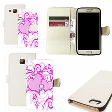 pu leather wallet case for majority Mobile phones - purple heart white