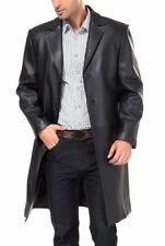 Brand New Men's Genuine Real Soft Lambskin Leather Trench Coat Long Jacket TR16