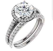 CZ Cubic Zirconia wedding set 14k Solid White Gold Halo engagement ring and band