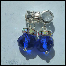 EUROPEAN OR LOBSTER CLASP STYLE SAPPHIRE BLUE CRYSTAL BEAD BRACELET DANGLE CHARM