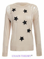 New Womens Ladies Longsleeve Jumper Pu Star Print Ripped Sweatshirt Top