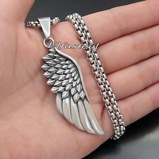 Angel Feather Wing 316L Solid Stainless Steel Pendant Necklace