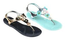 Womens Comfortable Jelly Sandals With Beautiful Flowers Hippie Chic Bohemian Flo