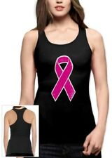 Breast Cancer Awareness - Distressed Pink Ribbon Racerback Tank Top Fight Cancer