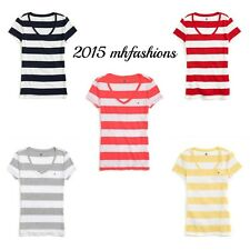Tommy Hilfiger Womens Fitted Rugby Stripe Deep V Neck T Shirt, Short Sleeve