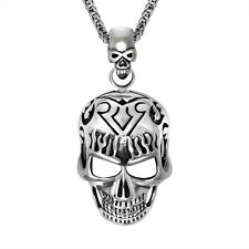 Top Rocker Gothic Flame Skull Titanium 316L Stainless Steel Pendant Necklace