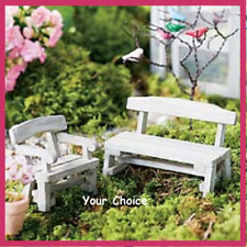 Miniature Dollhouse Fairy Garden Farm Bench or Chair White Figurine