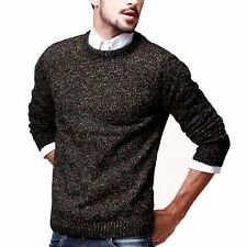 Slim Mens Round Neck Long Sleeve Sweater Solid Cotton Knitted M~XXL Mixed color