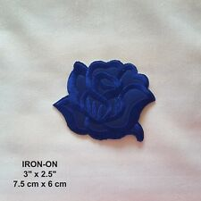 Royal Blue Rose Flower Embroidery Patch Skirt Dress Jeans Iron-on Applique