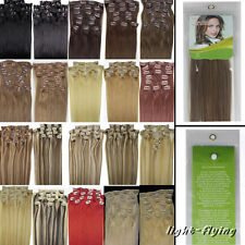20Inch Long 8Pcs Clips-In Remy Straight Human Hair Extensions 20 Colors Beauty