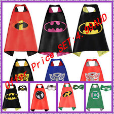 Boys Girls Superhero Cape +Mask Superman Batman Spiderman Batgirl Frozen hot*hot
