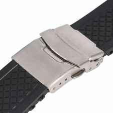 Mens Silicone Rubber Black Watch Strap Band Waterproof Belt Clasp 20/22/24 New