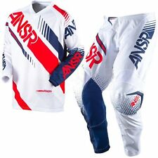 NEW 2017 ANSWER RACING SYNCRON PANT JERSEY GEAR COMBO YOUTH WHT/RED + FREE NAME
