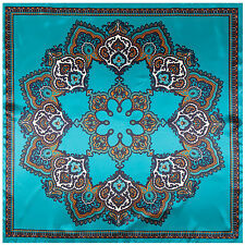 "Women's Blue Paisley Square Scarf Print Silk-Satin Head Shawl Scarves 35""*35"""