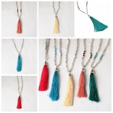 Bohemian Long Jewelry Sweater Chain Necklace Beaded Tassel Pendant