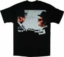 Adult Black The Blues Brothers We're On A Mission From God Photo T-Shirt Tee