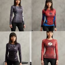 Advengers Women Slim Clothing Superhero Sport Compression Long Sleeve T-shirts