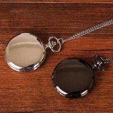 Luxury Black/Silver Smooth Quartz Pocket Watch Necklace Pendant Women Men GIft