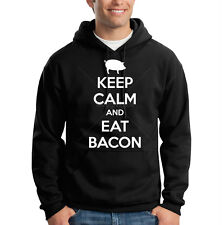Keep Calm & Eat Bacon Breakfast Pig Funny Hooded Sweatshirt Hoodie