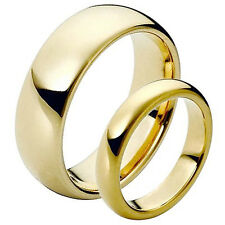 8MM Men's or 6MM Ladies Tungsten Carbide Gold Shiny Domed Wedding Band Ring Set