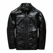New Children Coats Black Jackets Boys PU Leather Casual Stand Collar Jackets